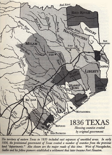 Map of 1836 Texas