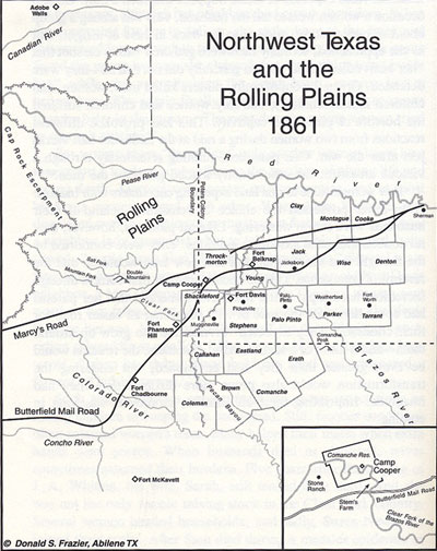 Map of Northwest Texas and the Rolling Plains 1861