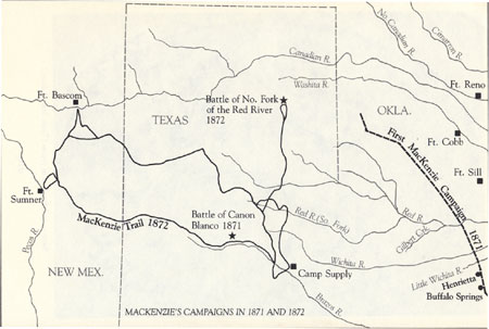 Map of Mackenzie's Campaigns in 1871 and 1872