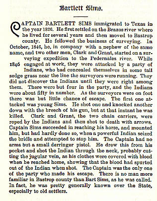Bartlett Sims story from the book Indian Depredations in Texas by J. W. Wilbarger
