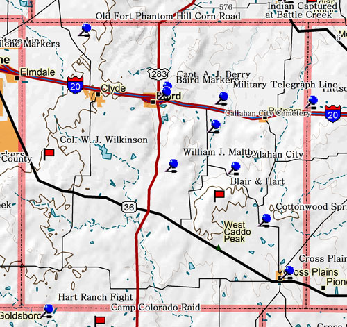 Map of Callahan County Historic Sites