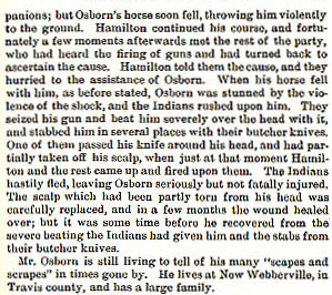 Claiborne Osborn story from the book Indian Depredations in Texas by J. W. Wilbarger