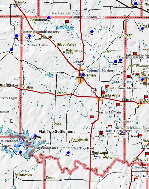 Map of Coleman County Historic Sites