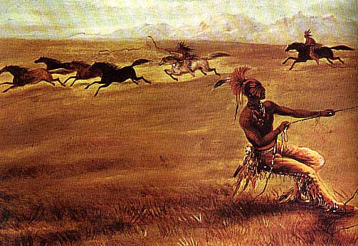 Picture of Comanche with Wild Horses