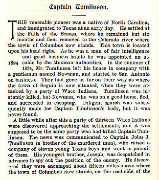 Captain Tumlinson story from the book Indian Depredations in Texas by J. W. Wilbarger