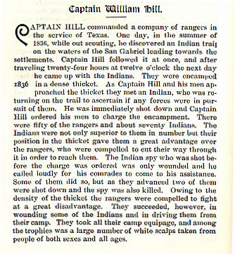Captain William Hill story from the book Indian Depredations in Texas by J. W. Wilbarger