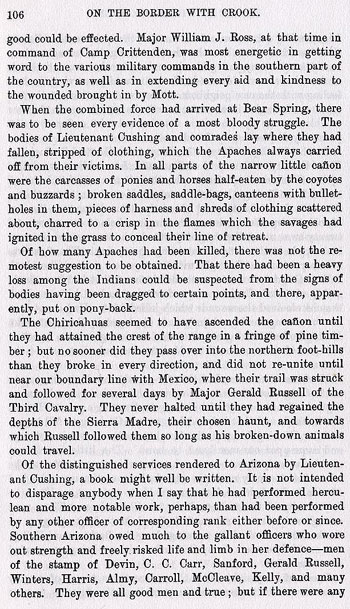Fort Bowie Story from the book On the Border with Crook
