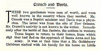 Crouch and Davis story from the book Indian Depredations in Texas by J. W. Wilbarger