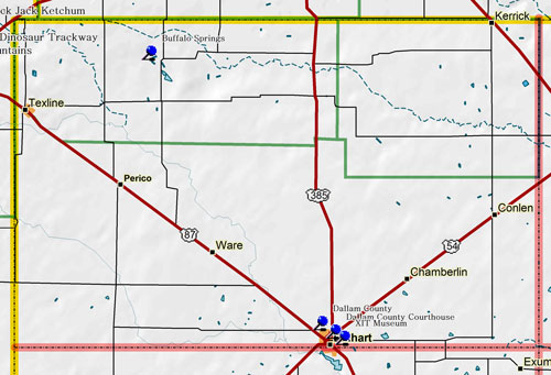 Map of Dallam County Historic Sites