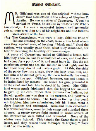 Daniel Gilleland story from the book Indian Depredations in Texas by J. W. Wilbarger