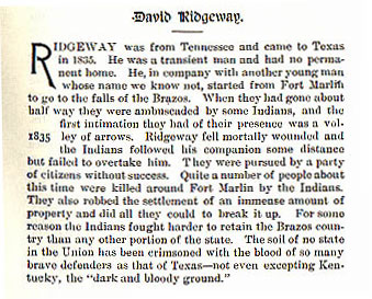 David Ridgeway story from the book Indian Depredations in Texas by J. W. Wilbarger