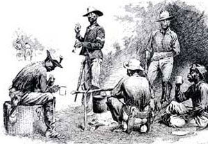 A Campfire Sketch, line drawing by Frederic Remington