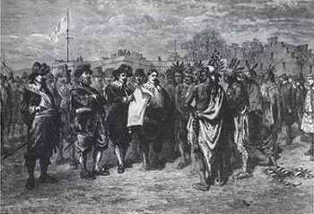 Picture of Dutch Envoys Discussing a Treaty with the Indians at Fort Amsterdam