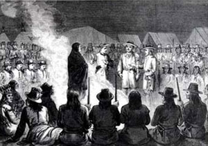 Picture of the Grand Council held at General Crook's headquarters on Goose Creek, 15 June 1876