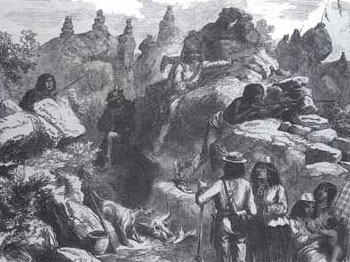 Picture of Modoc Indians in the lava beds awaiting the attack