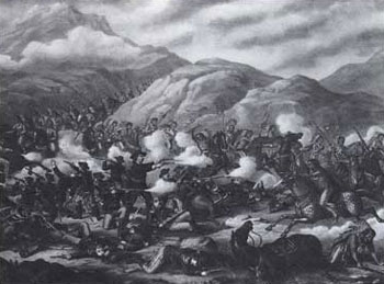 Picture of a lithograph potraying one of the most famous battles of the time, the Little Bighorn