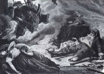 Picture of the Massacre of the Motte family during the second Seminole War