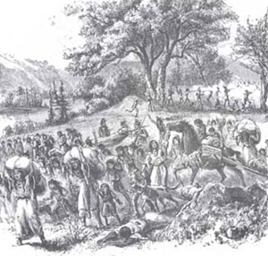 Picture of Fleeing Bands of Saux and Fox Indians at the Battle of Bad Axe
