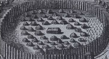 Picture of an Undated engraving of a Seminole encampment of small huts surrounded by a circular wooden fence