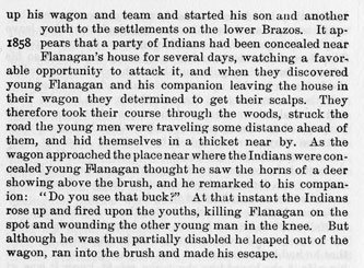 The Flanagans story from the book Indian Depredations in Texas by J. W. Wilbarger