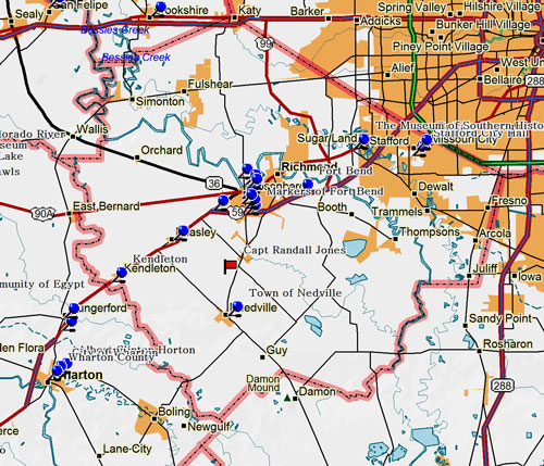 Map of Fort Bend County Historic Sites