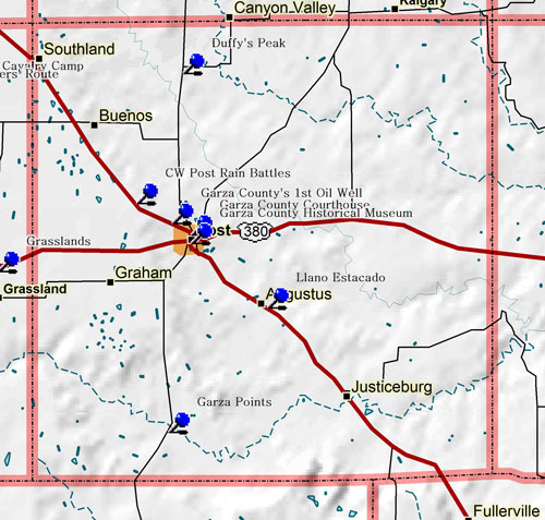 Map of Garza County Historic Sites