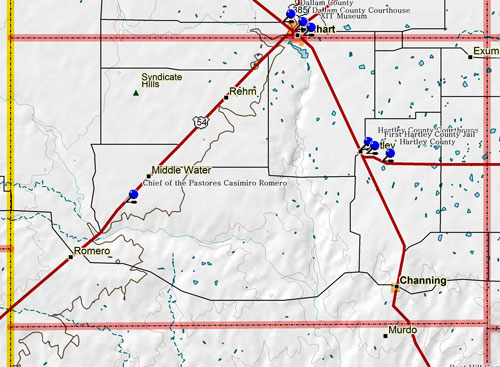 Map of Hartley County Historic Sites
