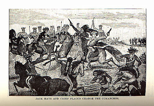 Jack Hays and Chief Flacco Charge the Comanches picture from the book Indian Depredations in Texas by J. W. Wilbarger