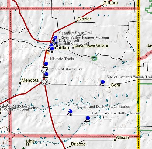 Map of Hemphill County Historic Sites