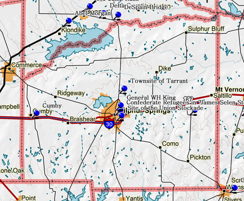 Map of Hopkins County Historic Sites