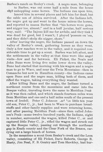 Indian Raids in Erath and Adjoining Counties story from the book Indian Depredations in Texas by J. W. Wilbarger