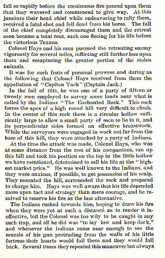 Colonel Jack Hays story from the book Indian Depredations in Texas by J. W. Wilbarger