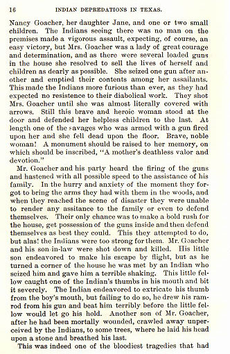 James Goacher story from the book Indian Depredations in Texas by J. W. Wilbarger