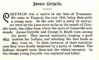James Coryelle story from the book Indian Depredations in Texas by J. W. Wilbarger