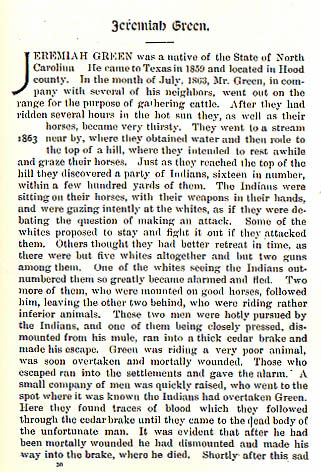Jeremiah Green story from the book Indian Depredations in Texas by J. W. Wilbarger