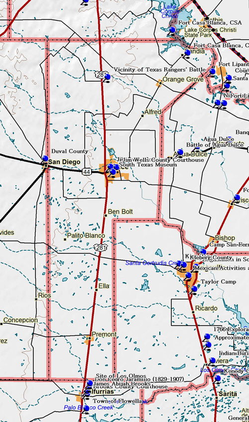 Map of Jim Wells County Historic Sites