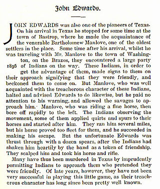 John Edwards story from the book Indian Depredations in Texas by J. W. Wilbarger