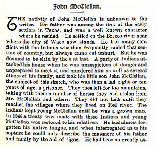 John McClellan story from the book Indian Depredations in Texas by J. W. Wilbarger