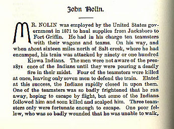 John Nolin story from the book Indian Depredations in Texas by J. W. Wilbarger