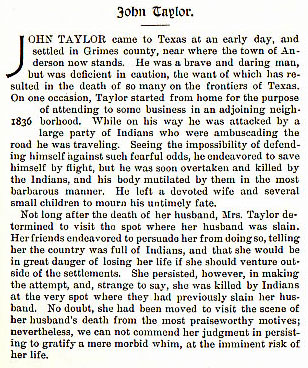 John Taylor story from the book Indian Depredations in Texas by J. W. Wilbarger