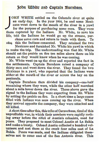 John White and Captain Burnham story from the book Indian Depredations in Texas by J. W. Wilbarger