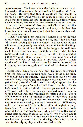 Josiah Wilbarger story from the book Indian Depredations in Texas by J. W. Wilbarger