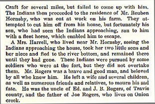 Joseph Rogers story from the book Indian Depredations in Texas by J. W. Wilbarger