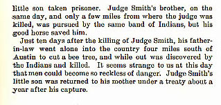 Judge James Smith story from the book Indian Depredations in Texas by J. W. Wilbarger
