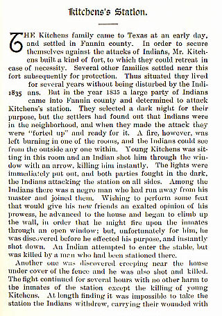 Kitchen's Station story from the book Indian Depredations in Texas by J. W. Wilbarger