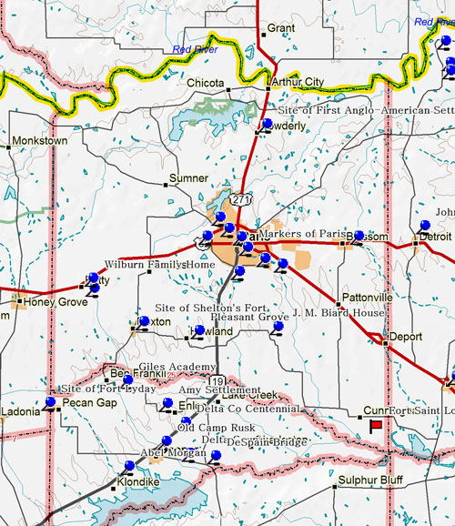 Map of Lamar County Historic Sites
