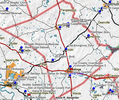 Map of Lee County Historic Sites