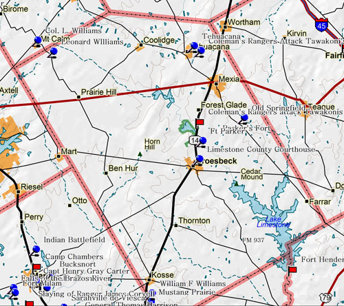 Map of Limestone County Historic Sites