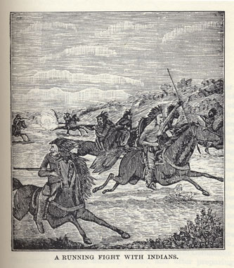Running Fight with Indians picture from the book Indian Depredations in Texas by J. W. Wilbarger