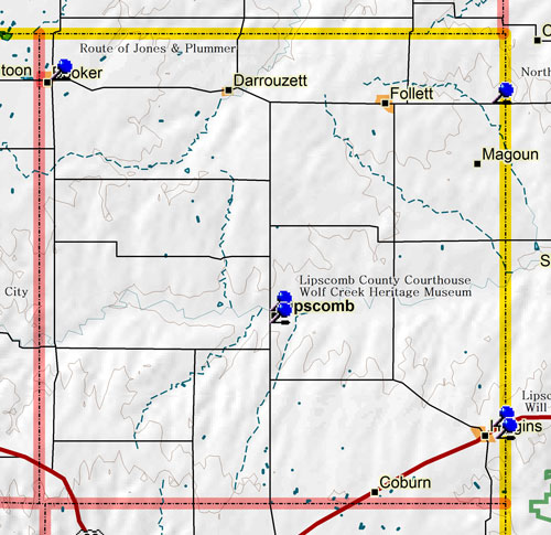 Map of Lipscomb County Historic Sites